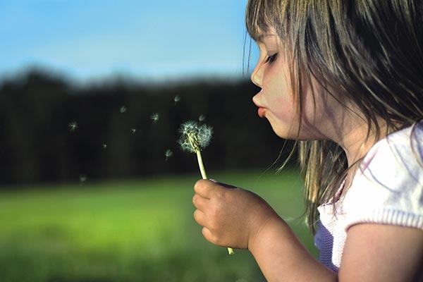 bambina soffia sui petali di un fiore