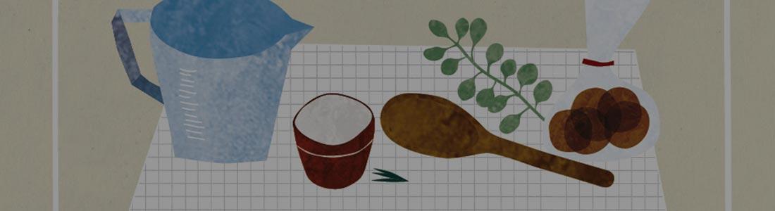 disegno utensili della cucina: brocca, bicchiere, mestolo, spezie, pane