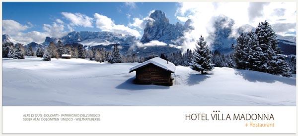 Panorama Alpe di Siusi e altopiano Sciliar inverno